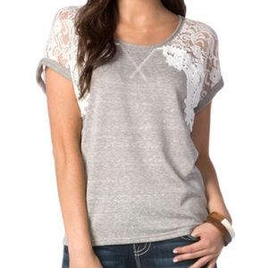 Miss Me Heathered Terry Pullover Top- Lace Sleeves